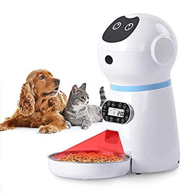 NautyPaws Automatic Cat Food Dispenser, Automatic Cat Feeder Stainless Steel 118oz/3.5L, Timer Programmable Dog Feeder with Voice Recorder & Speaker, Portion Control Up to 4 Cups Meal/Day