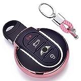 Rosa Car Keyless Entry Key Cover Fall für BMW Mini Cooper F54 F55 F56 F57 F60 3/4-Buttons Smart Key, weiches TPU Schutzhülle mit Schlüssel Kette