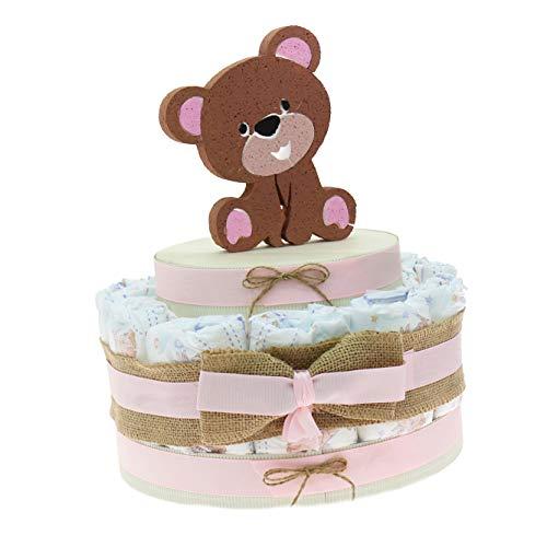 Viale Magico Idea Regalo Economico Neonata, Torta Pannolini Nascita o Baby Shower Orsetto Bimba (Torta da 15 Pannolini)