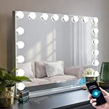 MISAVANITY Bluetooth Makeup Vanity Mirror with Lights, 27.6x22.9in Large Lighted Hollywood Vanity Mirror with 10X Magnification for Tabletop Wall Mounted,18 LED Bulbs and USB Charging Port(Bluetooth)
