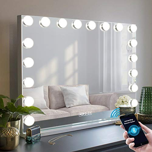 MISAVANITY Bluetooth Makeup Vanity Mirror with Lights, 35.5in Large Lighted Hollywood Beauty Mirror with 10X Magnification for Tabletop Wall Mounted,18 Dimmable LED Bulbs USB Charging Port (Bluetooth)