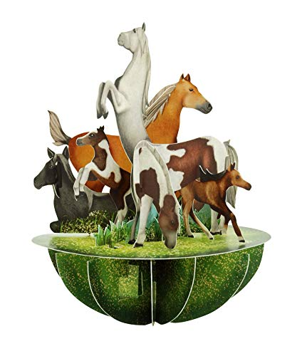 Santoro 3D Pirouette Grußkarte - Pferde und Ponys