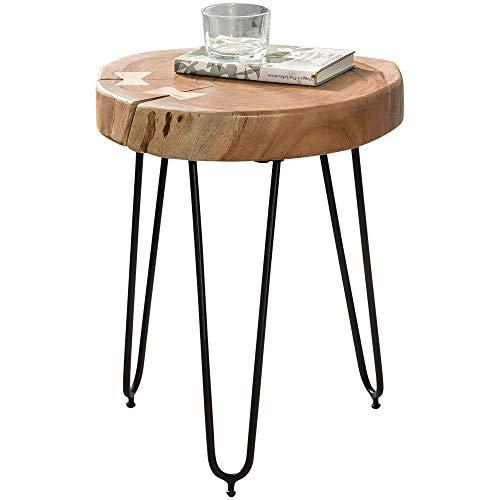 FineBuy Design Beistelltisch 30 x 30 x 41 cm Akazie Massivholz FSC Zertifiziert | Moderner Wohnzimmer Anstelltisch mit Metallbeinen | Dreibein Dekotisch braun mit Baumstammscheibe | Couchtisch klein