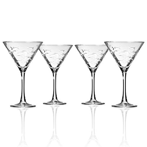 Rolf Glass School of Fish Martini Glass - Stemmed 10 oz. Martini Glasses - Lead-Free Glass - Diamond-Wheel Engraved Cocktail Glasses - Made in the USA (Set of 4)