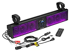 BOSS Audio Systems BRT26RGB ATV UTV Sound Bar System - 26 Inches Wide, IPX5 Rated Weatherproof, Bluetooth Audio, Amplified, 4 inch Speakers, 1 Inch Tweeters, USB Port, RGB Multicolor Illumination