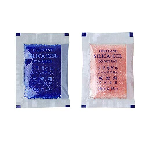 Dry & Dry 10 Gram [50 Packs] Premium Silica Gel Blue Indicating(Blue to Pink) Silica Gel Packets Desiccant Silica Gel Dehumidifier - Rechargeable Silica Packets for Moisture Absorber Silica Gel Packs