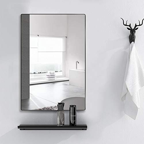 4EVER BEAUTI Bathroom Mirror,Mirror for Wall with Thin Black Metal Frame 32x24x0.7 -