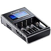 Varta LCD Dual Tech caricatore (adatto per Ni-MH AA/AAA, Li-Ion 18650, 18490, 18350, 17670, 17500, RCR123A/17335/16340, 14500, 10440, per i dispositivi USB ricaricabili, Singolo ladung)