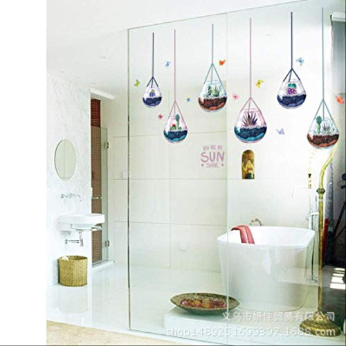 SIMNO JIAHONG Pegatinas de Pared de Pegatinas de Pared de Agua Dropglass Bola de Cristal Multi-Carne Planta lámpara de Pared en Pasta, Sala de Estar Dormitorio antecedentes de Papel Decorativo