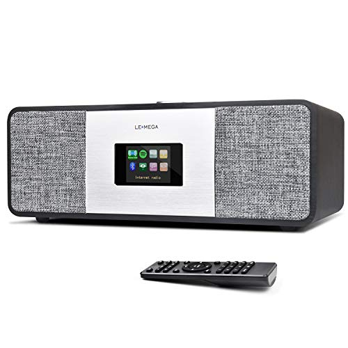 LEMEGA MSY3 Music System,Stereo WIFI Internet Radio, DAB DAB+e FM Digital Radio,Spotify Connect,Bluetooth,Box in legno,uscita cuffie,allarmi,orologio,preset,telecomando e controllo App - Quercia Nera