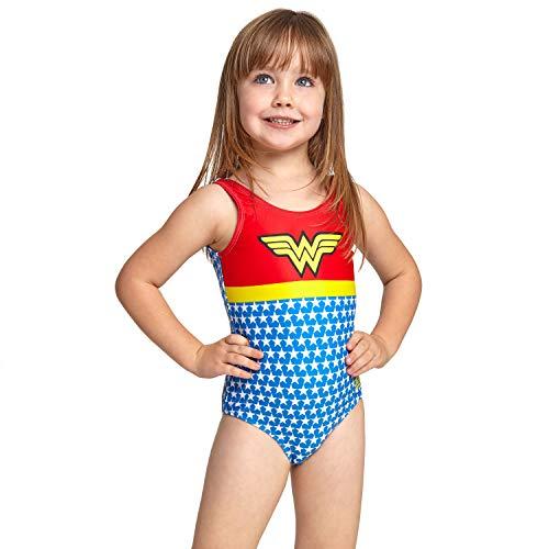 Zoggs Wonder Woman - Costume da Bagno Intero con Schiena scoopback, Ragazza, 519019020, Red/Blue/Multi, 1 Anno