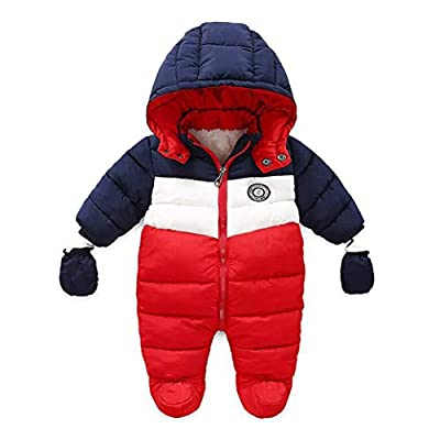 RUIMING Newborn Baby Snowsuit Infant Winter Coat Hooded Zipper Jumpsuit Outwear Footed Romper (6-9 Months)