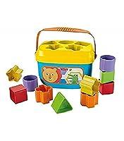 Gioco di costruzioni per bambini con 10 blocchi assortiti Fisher Price da scegliere, impilare e inserire nel secchiello Una volta terminato il gioco, tutti i blocchi possono essere riposti all'interno del secchiello: l'ottimale come regalo per bambin...