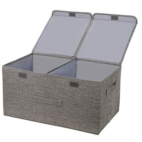 YDH Cajas de almacenamiento grandes con tapa, de tela plegable, color gris, con asas, 40 L, organizador para ropa, juguetes, libros, ropa de cama o más