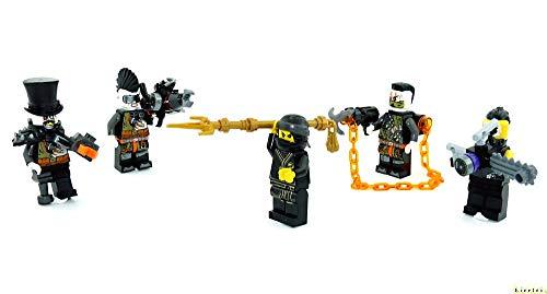LEGO Ninjago - Juego de 5 figuras de villanos Nya, Sawyer, Talon, Jet Jack y Böser Barón de hierro con armas