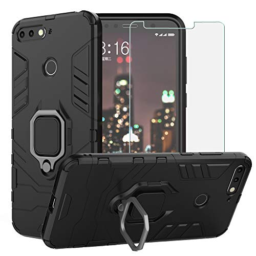 BestAlice for Huawei Honor 7A / Huawei Y6 2018 / Y6 Prime 2018 Case, Hybrid Heavy Duty Protection Shockproof Defender Kickstand Armor Case Cover Tempered Glass Screen Protector,Black