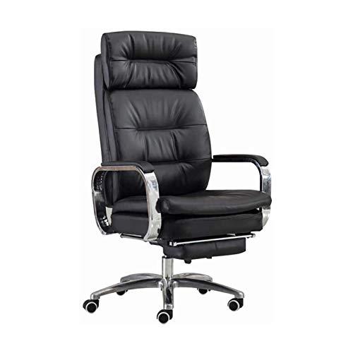 ZLQBHJ Sillas de escritorio de oficina, Sillas de oficina Sillas de escritorio de oficina en casa ergonómica negra con reposapiés, silla de escritorio giratorio de cuero de PU, Recline Silla de comput