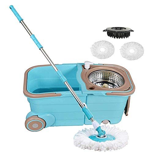 Spin Mop Bucket with Wringer - Deluxe Stainless Steel 360 Spin Dry Basket & Telescopic Handle Pole, Hurricane Spinning Mop Bucket Kit, 2 Microfiber Heads Replacement