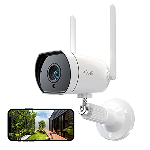 ieGeek 防犯カメラ4dBi WIFI 屋外カメラ 監視カメラ ワイヤレス ネットワークカメラ 見守りカメラ ipカメラ 警報通知 暗視 動体検知 遠隔操作 双方向音声 超広角 IP66防水 ios/android/windowsスマホ対応カメラ SDカード対応/クラウド保存 1080P 200万画素 アプリ通知 2.4G WIFI強化