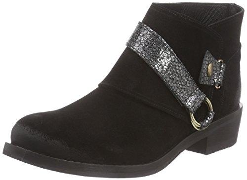 Inuovo Damen CHOICE Cowboy Stiefel, Schwarz (BLACK SUEDE-DORADO BLACK), 39 EU