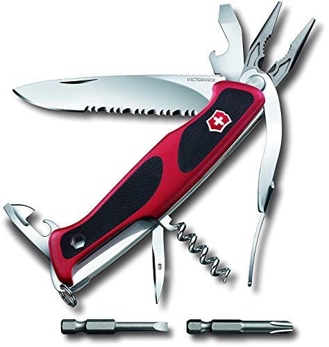 Victorinox Taschenmesser Ranger Grip 174 Handyman (14 Funktionen, Feststellklinge, Etui) rot/schwarz