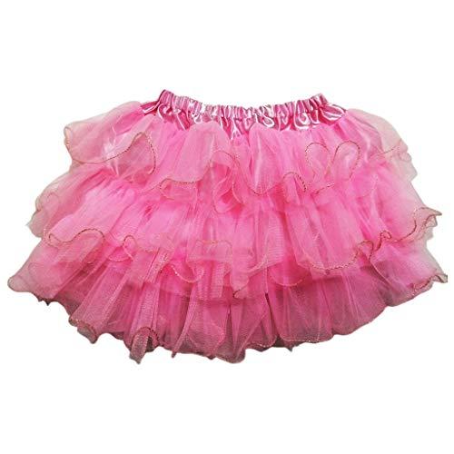 Haptian Kleinkind Mädchen Ballett Tanz Mini Tutu Rock Tiered Rüschen Glitter Trim Fluffy Tüll Halloween Party Kuchen Kleid Pettiskirt 3-10T