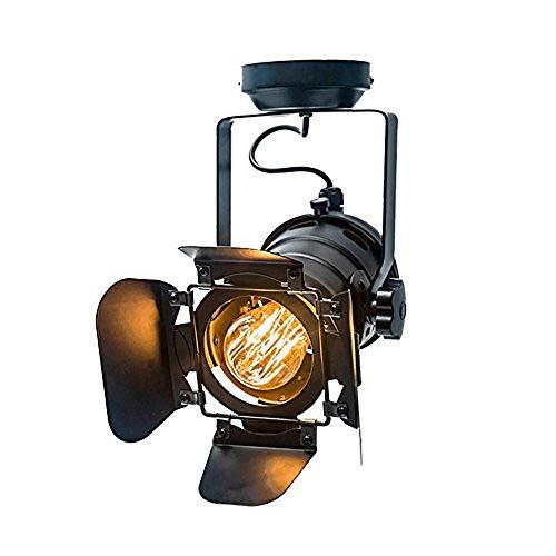 Preisvergleich Produktbild ZSAIMD Bühnenscheinwerfer Vintage Mini Eisen Deckenleuchte Wandleuchte Sockel Industrie Licht Bekleidungsgeschäft Scheinwerfer Retro Lampe Einstellbare 4 Blatt for Kaffeebar Lichter Leuchte E27 Schwar