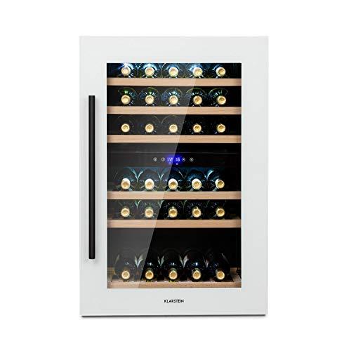 Klarstein Vinsider - Built-In Duo Quartz Edition nevera de vinos encastrable, marco de cristal de cuarzo con vidrio frontal, 2 zonas, 5 – 22 °C, eficiencia energética Ge clase G, 41 botellas, blanco