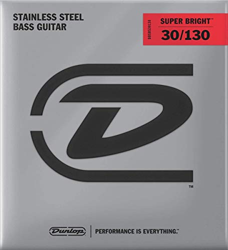 Dunlop DBSBS30130 Super Bright Bass Strings, Stainless Steel, Medium, .030-.130, 6 Strings/Set