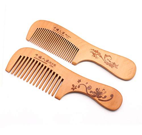 QiCheng & LYS - Pettine pettine in legno naturale antistatico a pettine per uomo e donna, a denti larghi più a denti fini (Maniglia 2 pezzi)