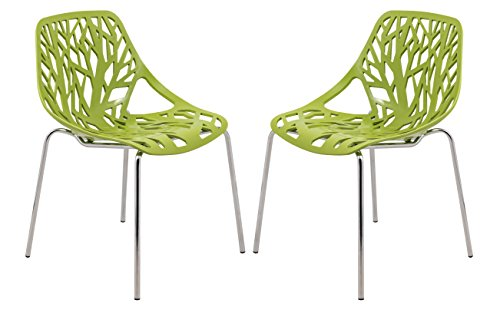 LeisureMod Modern Asbury Dining Chair with Chromed Leg, Set of 2, Green