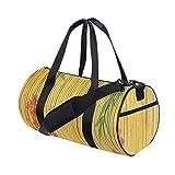 HARXISE Bolsa de Viaje,Flor de Loto y Fondo de bambú en Tallos Tropical Plant Oriental Art Print,Bolsa de Deporte con Compartimento para Sports Gym Bag