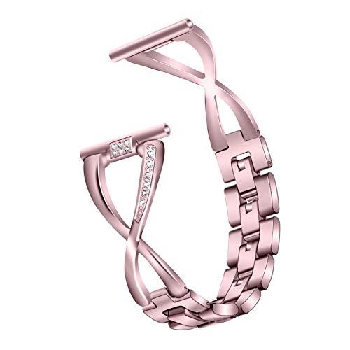 BFYH Compatible con Correas De Repuesto para Joyería Correa De Metal Pulseras De Acero Inoxidable Pulsera De Diamantes De Imitación Fitbit Versa 2 / Versa/Versa Lite,Rose Pink
