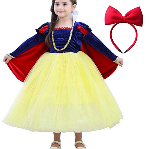LOBTY Blancanieves Disfraz Carnaval Traje de Princesa para Halloween Navidad Fiesta Cosplay Costume para Nias Chicas Nias Princesa Nieve Traje Blanco Disfraces Hadas disfrazarse Vestido de Cosplay