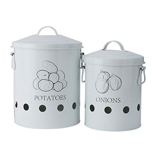 Set of 2 Antique Cream Vintage Potato Onion Kitchen Storage Canisters Jars Pots Containers 2 Pack Set, Potatoe, Onion Bin Caddy, With Aerating Tin Storage Holes & Metal Lid