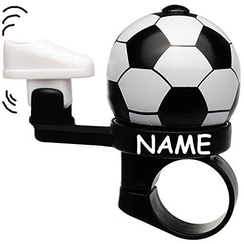 alles-meine.de GmbH Fahrradklingel -  Fussball  - inkl. Name - Cooler Kicker Effekt - Fussballschuh kickt an Fußball - stabiles Metall - UNIVERSAL Klingel für das Fahrrad / Mäd..