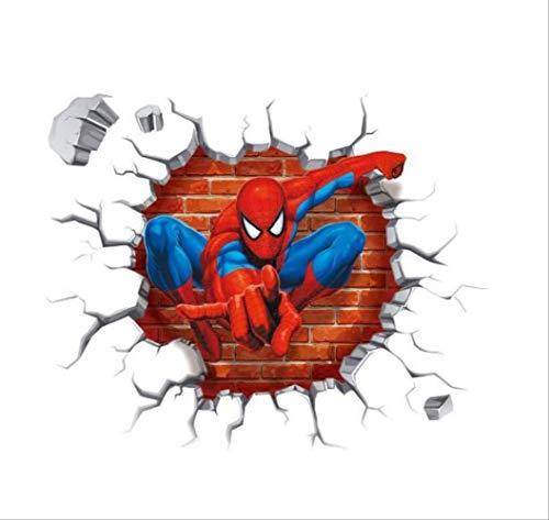 Autocollant Mural, Spiderman 3D Cartoon Movie Home Stickers Stickers Muraux/Décoration Papier Peint Pour Chambre D'Enfants, 50 * 50Cm