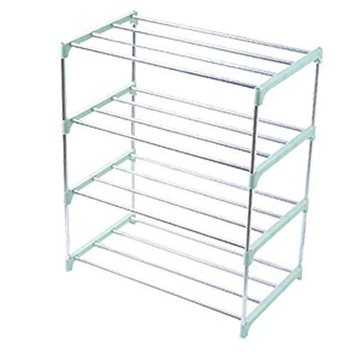 Zapatero extraíble, apilable y fácil de montar, estante de almacenamiento multifunción de cuatro capas de acero inoxidable, zapatero simple para dormitorio (verde, cuatro capas)