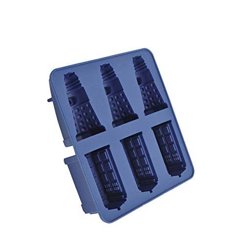Yisily Silikon-Eiswürfelformen Praline-Plätzchen-Form-Hersteller DIY Bar-Party-Getränk Backen Tools- Tardis und Daleks