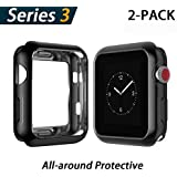 YoLin Apple Watch Series 3 Screen Protector, iwatch Cover Soft Transparent TPU All-around Protective Case For Apple Watch Series 3 42mm (1 Black + 1 Transparent)