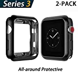 YoLin Apple Watch Series 3 Schutzhülle, iwatch case Weiche Superdünne TPU iwatch Bildschirmschutz All-Aro& Hülle für Apple Watch Serie 3 42mm (1 Schwarz + 1 Transparent)
