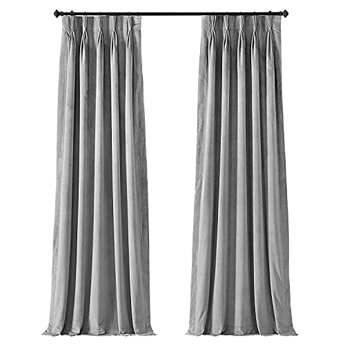 HPD Half Price Drapes VPCH-145002-108-FP Signature Pleated Blackout Velvet Curtain (1 Panel), 25 X 108, Silver Grey
