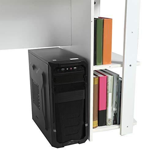 AYNEFY Escritorio, Escritorio de Madera para computadora, Tablero de Mesa Dual Blanco para Sala de Estar para el hogar