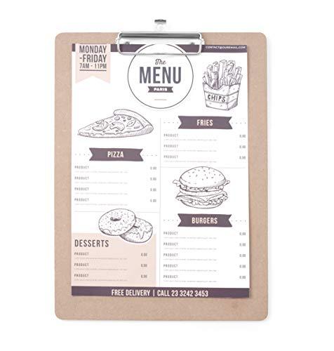 HENDI Klemmbrett, Clipboard, für Speisekarten oder Tageskarte, mit Metallclip und Aufhängeose, 240x330mm, Holz