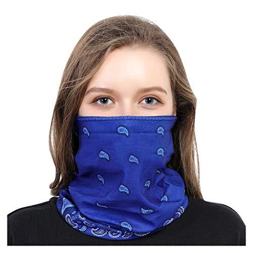Andouy Face Shields Bedrucktes Multifunktionstuch Damen Herren Elastische Halstuch Nahtlose Schlauchtuch UV Schutz für Yoga Radfahren Motorradfahren(25X50CM.Marine)