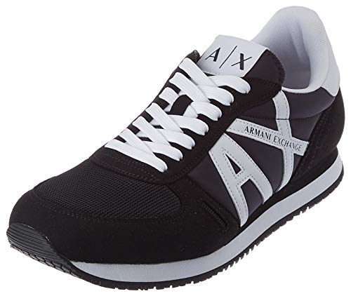 Armani Exchange Micro Suede Multicolor Sneakers, Zapatillas Hombre, Black White, 43 EU