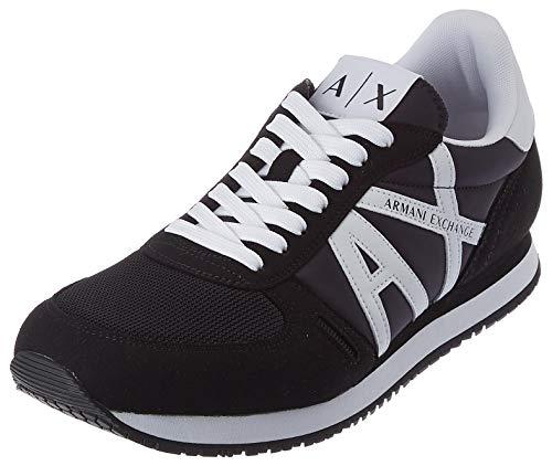 Armani Exchange Herren Micro Suede Multicolor Sneakers Sneaker, Black White, 44 EU