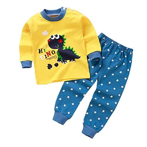 Aiyrchin Ropa del niño Pijamas Set Capucha Pantalones de Manga Larga de Invierno Amarillo Impreso 110cm 2 Piezas