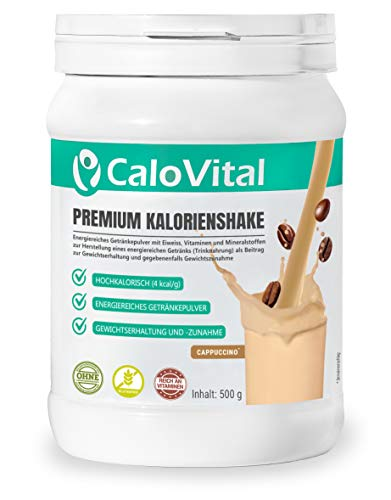 WEIGHT GAINER & MASS GAINER hochdosiert für Masseaufbau und zum Zunehmen | Trinknahrung hochkalorisch für Gewichtszunahme | CaloVital - Premium Qualität aus Deutschland (Cappuccino 500g)