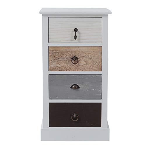 Rebecca Mobili Comodino bianco nero beige, cassettiera 4 cassetti, legno paulownia, stile shabby, camera bagno sala - Misure: 69 x 37 x 27 cm (HxLxP) - Art. RE4310